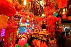 Shoppin lunaire chinois d'an neuf de Singapour Chinatown photo libre de droits
