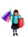 Shopping 006. A young girl holds her bags after a hard day of shopping Stock Photography