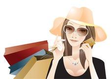 Shopping. Young woman celebrating shopping success royalty free illustration