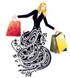 Shopping. Portrait of a pretty woman with shopping bag Stock Photo