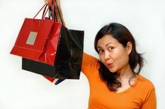 Shopping. Women holding paper begs - shopping series Royalty Free Stock Image