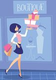 Shopping. Illustration of a woman shopping and carrying a lot of parcels and bags royalty free illustration