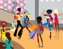 Shopping. Colorful  illustration of women doing purchases in shop Royalty Free Stock Images