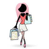Shopping. Cartoon people action icon of a young girl go shopping Stock Photography