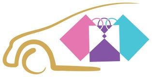 Shopping. Isolated line art logo design of shopping Stock Photos