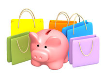 Shopping. Piggy bank with packages purchases. Isolated over white Stock Photos