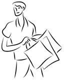 Shopping. Isolated brush stroke shopping illustration Stock Images