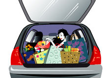 After shopping. Lady with different shopping bags in the car stock illustration