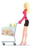 Shopping. The figure shows a girl with purchases Stock Photo
