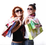 Shopping!. Two Young Women Enjoying Shopping Trip Stock Image