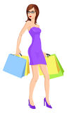 Shopping. Illustration of a woman carrying shopping bags Stock Photo