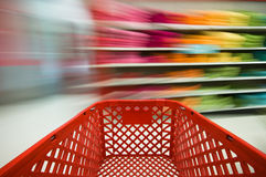 Shopping. Picture of a red shopping cart Royalty Free Stock Photo