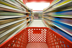 Shopping. Picture of a red shopping cart Royalty Free Stock Photography