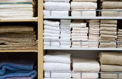 Shopping. Picture of towels stacked on a shelf Royalty Free Stock Images