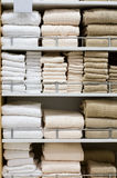 Shopping. Picture of towels stacked on a shelf Stock Photos