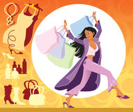 Shopping. Vector illustration of girl with shopping bags on the sales Royalty Free Stock Image