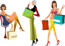 Shopping. Three  women with shopping bags Stock Photography