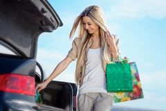After shopping. Beautiful blond girl after shopping Stock Images