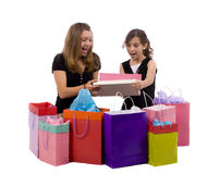 Shopping. Two sisters go thru the days work of shopping Royalty Free Stock Photo