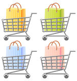 Shopping. Cart and  bag;  illustration; isolated Stock Photos