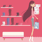 Shopping. Pretty girl bought shoes in a shop vector illustration