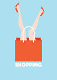 Shopping. Funny poster depicting woman lying in a  bag Stock Photography