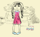 Shopping. Little  girl  shopping for fashion shoes Royalty Free Stock Images