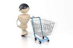 Shopping. Boy with an empty basket. 3d model Stock Photography