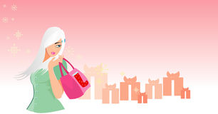Shopping. Vector image of young woman looking for shopping. many free space for your info. good use for christmas sales and retails Royalty Free Stock Photo