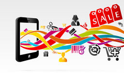Shopping. Online shopping using internet connected mobile phones Royalty Free Stock Photography