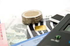 Shopping. Money, credit card and calculator Royalty Free Stock Photo