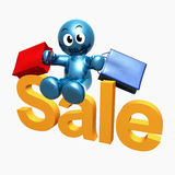 Shopping 3d humanoid icon Royalty Free Stock Photography