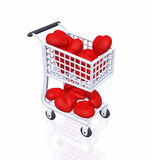 Shopping 4 Love 01. 3d shopping cart with red hearts on white background vector illustration