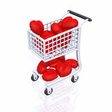 Shopping 4 Love 03. 3d shopping cart with red hearts on white background royalty free illustration
