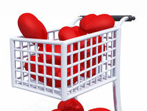 Shopping 4 Love 04. 3d shopping cart with red hearts on white background royalty free illustration