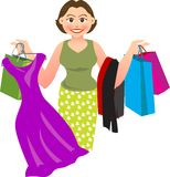 Shopping. Vector illustration for a woman is shopping and buying a lot of things Royalty Free Stock Photo