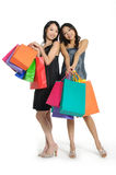 Shopping. Pretty woman with colored package Stock Images