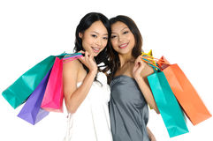 Shopping. Asia Shopping pretty woman with bags Stock Photography
