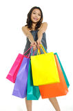 Shopping. Asia Shopping pretty woman with bags Royalty Free Stock Photos