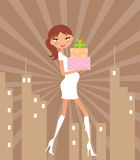Shopping. Illustration of a Pregnant Woman Shopping Royalty Free Stock Photos