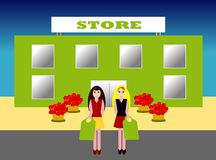 Shopping. Two girls walking happy after shopping in a store royalty free illustration