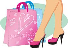 Shopping. Sexy women and bags graphic illusatrtion Stock Image