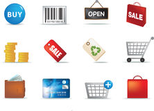 Shopping aand retail icon set Royalty Free Stock Image