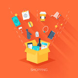 Shopping. Abstract vector illustration of flat and colorful shopping concept with long shadow. Design elements for web and mobile applications Royalty Free Stock Photos
