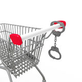 Shopping addiction. Handcuffs and shopping trolley on white Stock Photos
