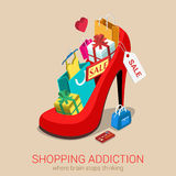 Shopping addiction sale madness flat 3d isometric web concept. Shopping addiction sale madness flat 3d isometric web infographic template  concept. Huge Stock Photo