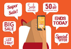 Shopping addiction. Sale signs. Flat vector Stock Photo