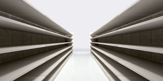 Shopping Aisle With Empty Shelves. A perspective view of a shopping aisle with empty shelves Stock Photo