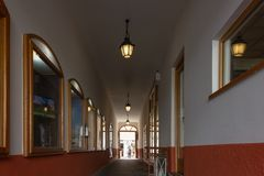 shopping alley mart with lamps and walkway stock photo