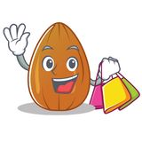 Shopping almond nut character cartoon Stock Photo